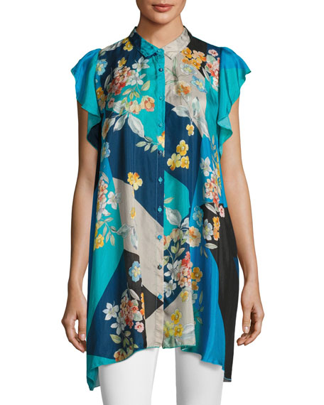 Johnny Was Modelo Flutter-Sleeve Habutai Print Top, Plus