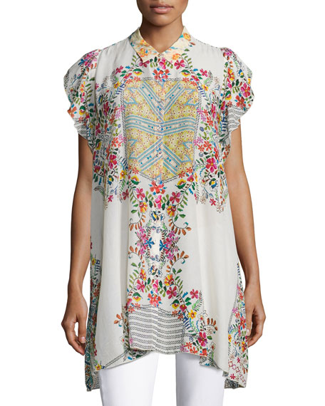 Johnny Was Modelo Flutter-Sleeve Printed Top, Plus Size