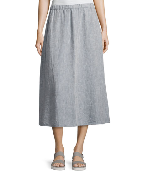 Eileen Fisher Yarn Dyed Handkerchief Linen Skirt, Chambray