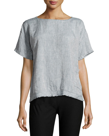 Eileen Fisher Yarn-Dyed Organic Linen Top, Medium Blue
