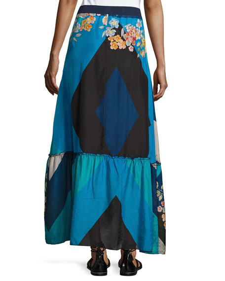 Mixed Print Silk Habutai Maxi Skirt