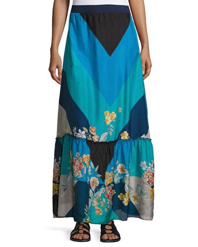 Mixed Print Silk Habutai Maxi Skirt
