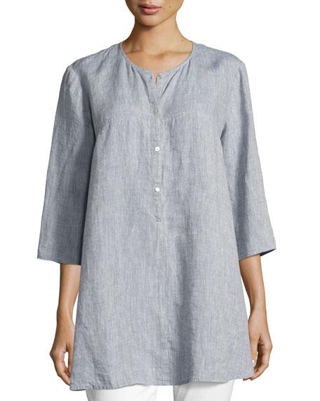 Eileen Fisher Yarn Dyed Handkerchief Tunic, Chambray