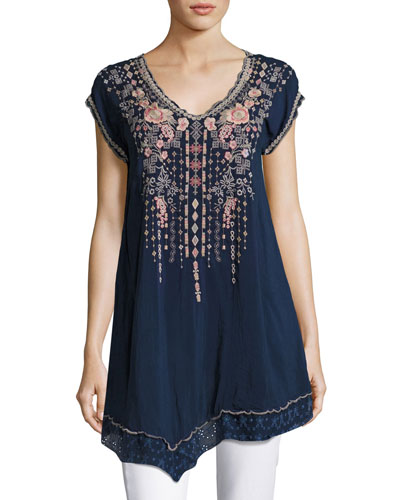 Rubina V-Neck Embroidered Long Tunic, Blue Night