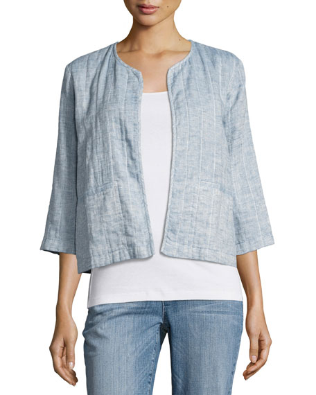 Eileen Fisher Quilted Organic Cotton/Linen Short Jacket, Chambray
