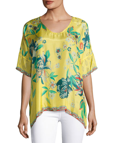 Johnny Was Nancy Floral-Print Silk Habutai Top, Plus