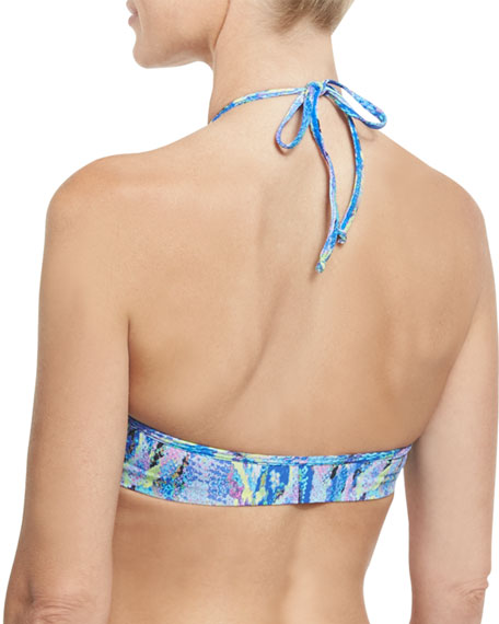 High-Neck Braided Swim Top, Blue