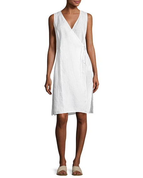 Eileen Fisher Handkerchief Linen Wrap Tunic, White, Plus