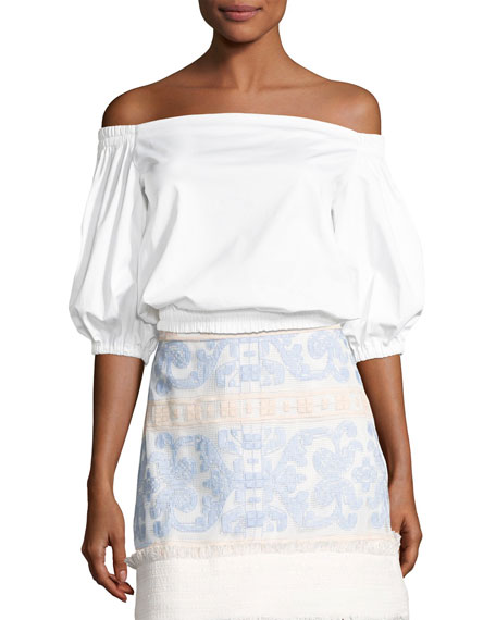 Alexis Vitali Off-The-Shoulder Ruffle Top, White and Matching