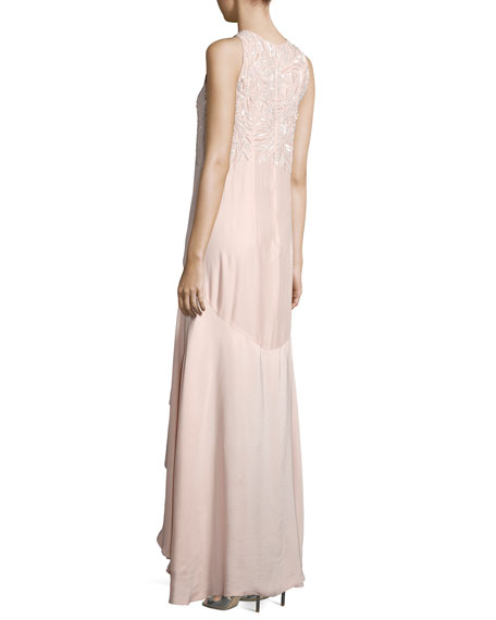 Mimi Sleeveless Beaded High-Low Gown, Blush