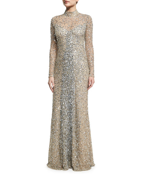 Leandra Long-Sleeve Beaded Gown, Silver