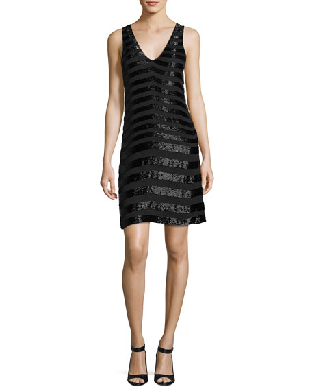 Parker Lucy Sleeveless Beaded Stripe Cocktail Dress, Black
