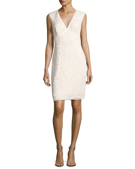 Tadashi Shoji Sleeveless Floral Lace Cocktail Dress, White