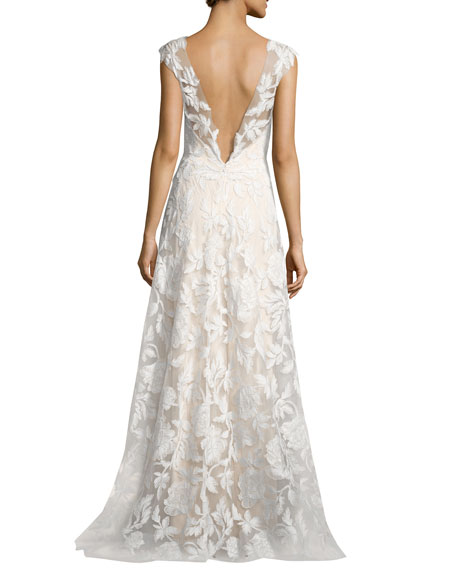 Sleeveless Embroidered Tulle Gown, White