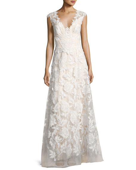 Sleeveless Embroidered Tulle Gown White