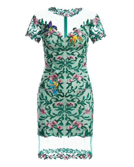 Short-Sleeve Embroidered Mesh Cocktail Dress, Green