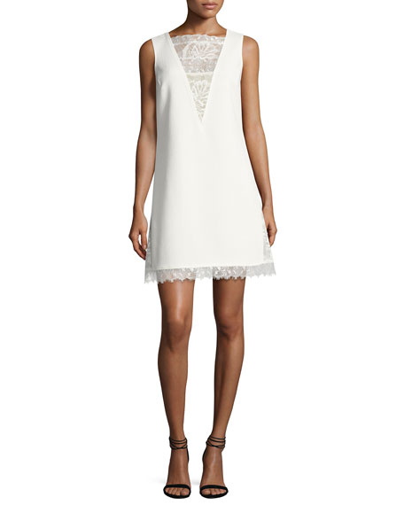 Tadashi Shoji Sleeveless Textured Crepe Cocktail Dress, White