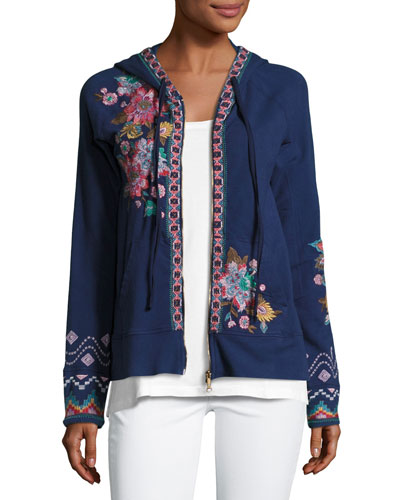 Cortez Embroidered Hoodie, Navy, Plus Size