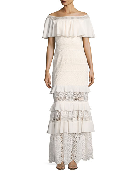 Tadashi Shoji Off-the-Shoulder Tiered Lace Column Gown, White