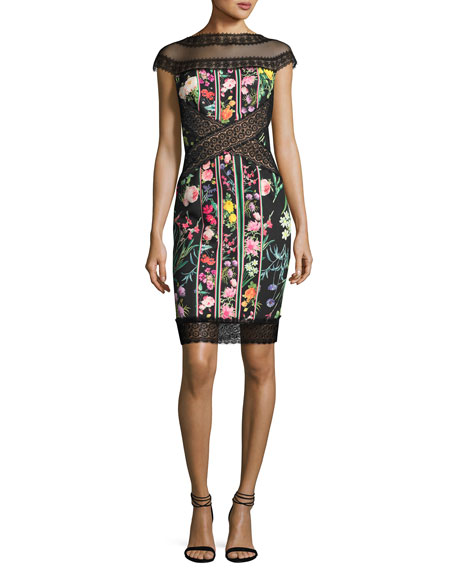 Cap-Sleeve Paneled Floral Cocktail Dress, Multicolor