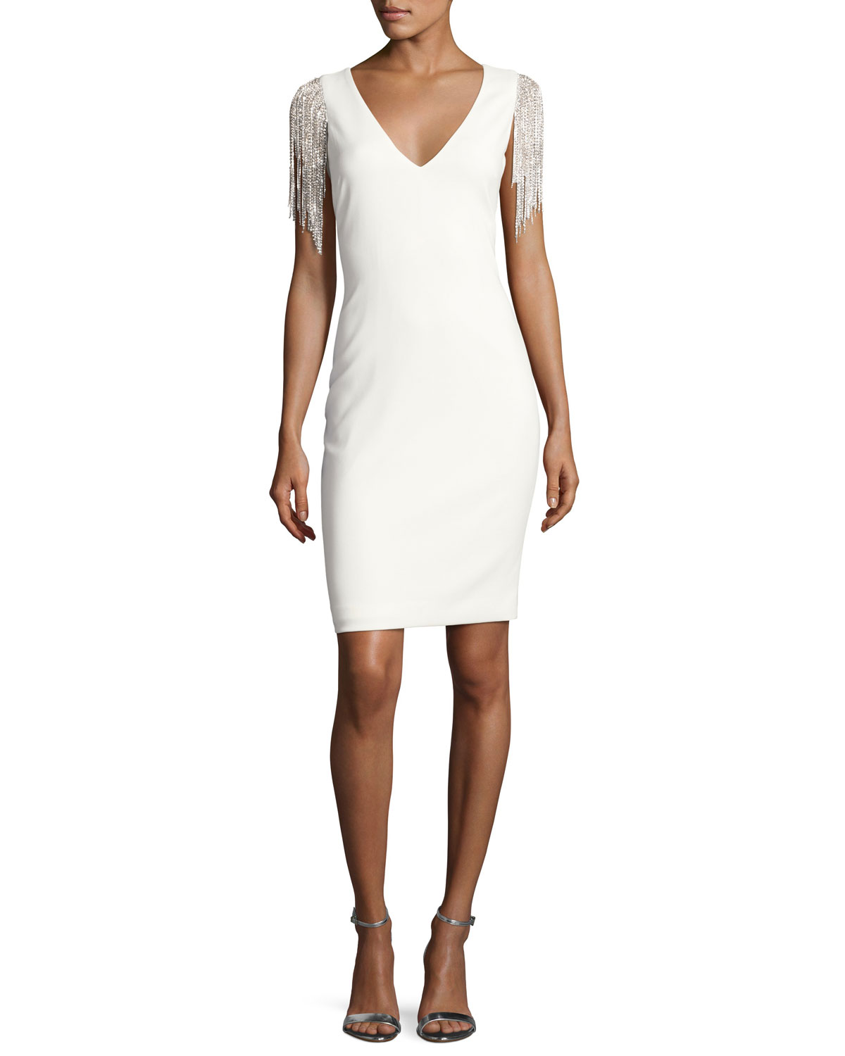 Stretch Crepe Tail Dress W Beaded Fringe Ivory