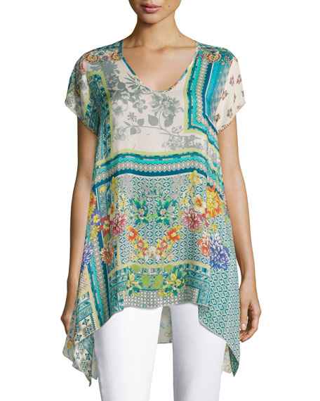 Johnny Was Trends Short-Sleeve Printed Top, Teal, Plus