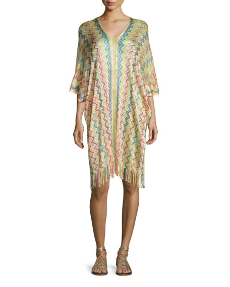 PilyQ Madagascar Coverup Tunic Dress, Multicolor