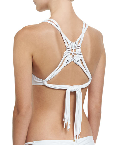 Macrame Braided Back Triangle Swim Top, White (Available in D Cup)