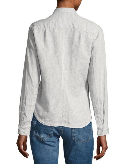 Barry Long-Sleeve Linen Shirt, Gray