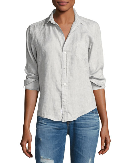 Frank & Eileen Barry Long-Sleeve Linen Shirt, Gray