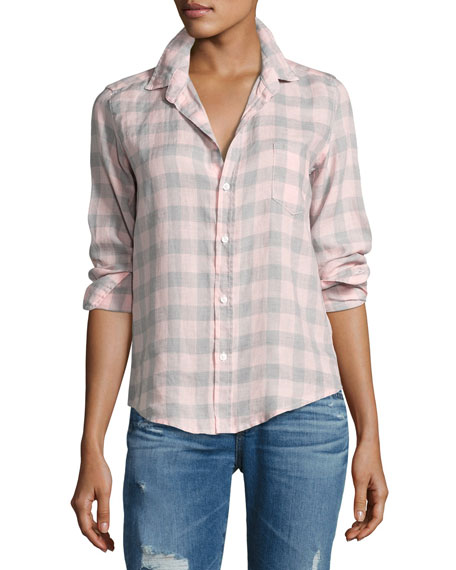 Frank & Eileen Barry Large Check Shirt, Pink/Gray