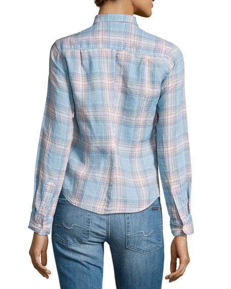Barry Plaid Long-Sleeve Linen Shirt
