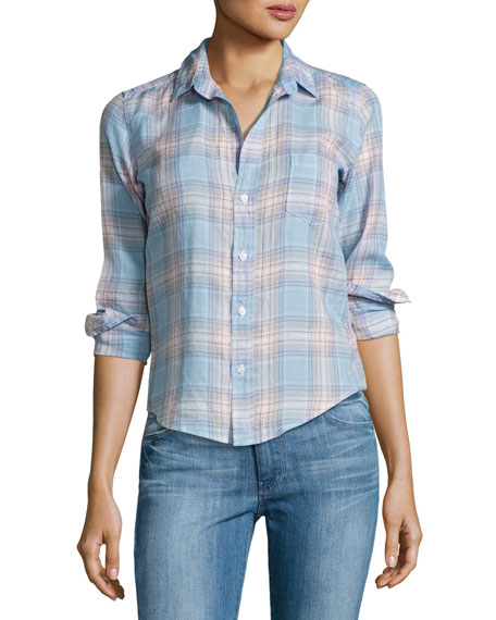Frank & Eileen Barry Plaid Long-Sleeve Linen Shirt