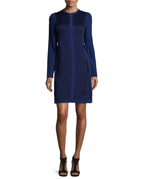 J. Mendel Long-Sleeve Two-Tone Sheath Dress, Navy
