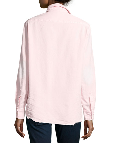 Eileen Long-Sleeve Distressed Italian Denim Shirt, Pink