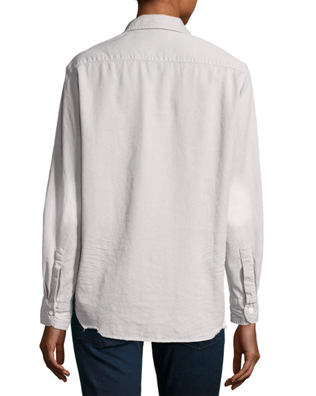 Eileen Long-Sleeve Distressed Button-Down Shirt, Gray