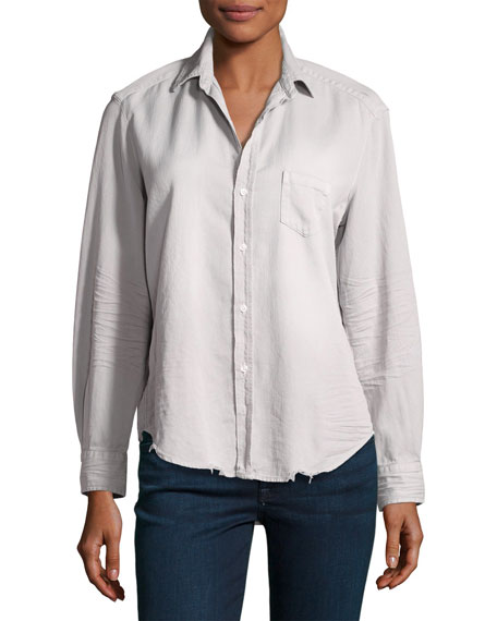 Eileen Long-Sleeve Distressed Button-Down Shirt, Gray