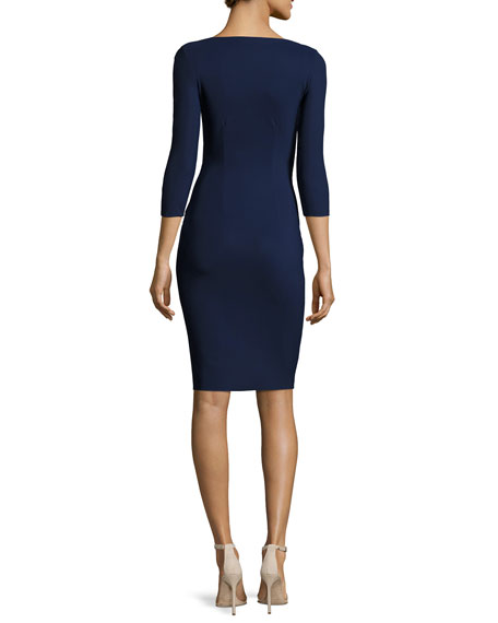 Emertiene 3/4-Sleeve Wrap-Style Cocktail Dress, Navy