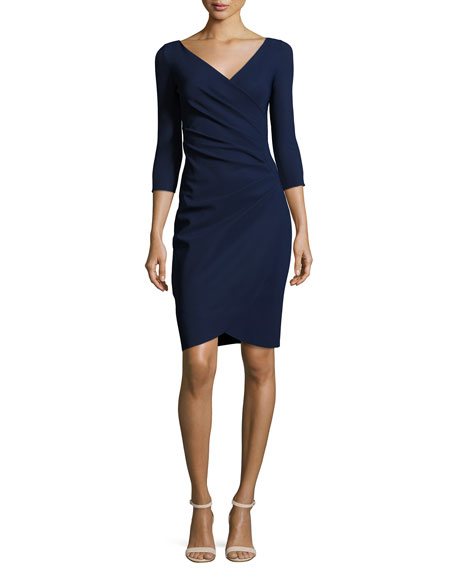 LA PETITE ROBE DI CHIARA BONI Emertiene 3/4-Sleeve Wrap-Style Cocktail Dress, Navy, Navy 743