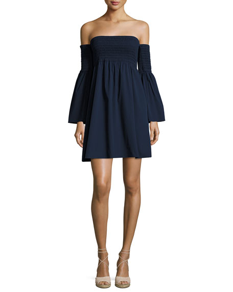 Milly Jodi Smocked Off-the-Shoulder Poplin Dress, Navy