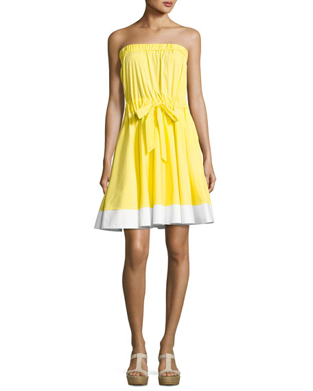 Milly Ariel Strapless Stretch-Poplin Dress, Yellow/White