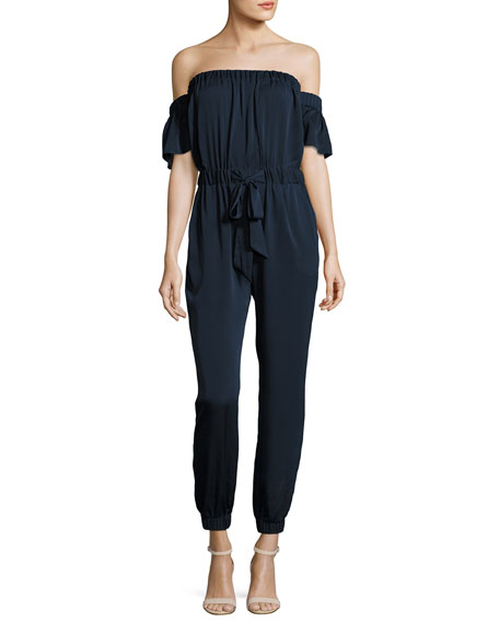 Milly Maxime Off-the-Shoulder Stretch-Silk Jumpsuit