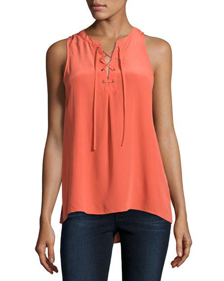 Joie Deasia Lace-Up Tank Top, Orange