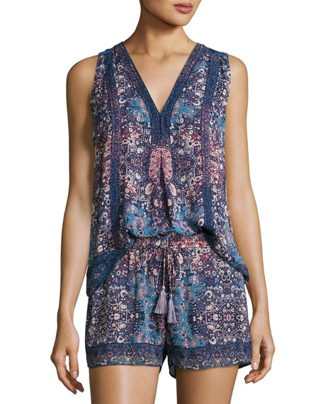 Joie Adelcie Sleeveless Silk Printed Top and Matching