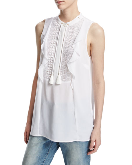 MICHAEL Michael Kors Sleeveless Tie-Neck Lace-Bib Blouse, White