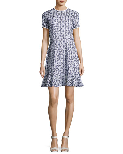 Short-Sleeve Floral Eyelet Dress