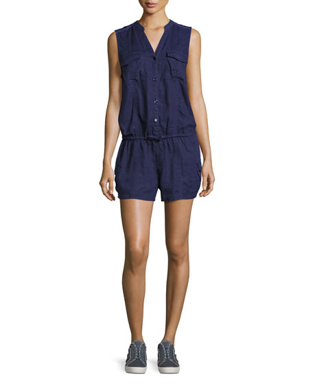 Joie Apoline Sleeveless Shorts Linen Romper, Blue
