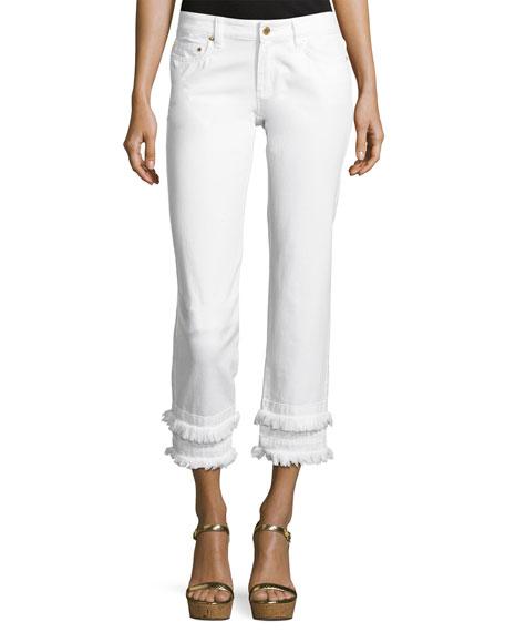 MICHAEL Michael Kors Frayed Straight-Leg Ankle Jeans, White