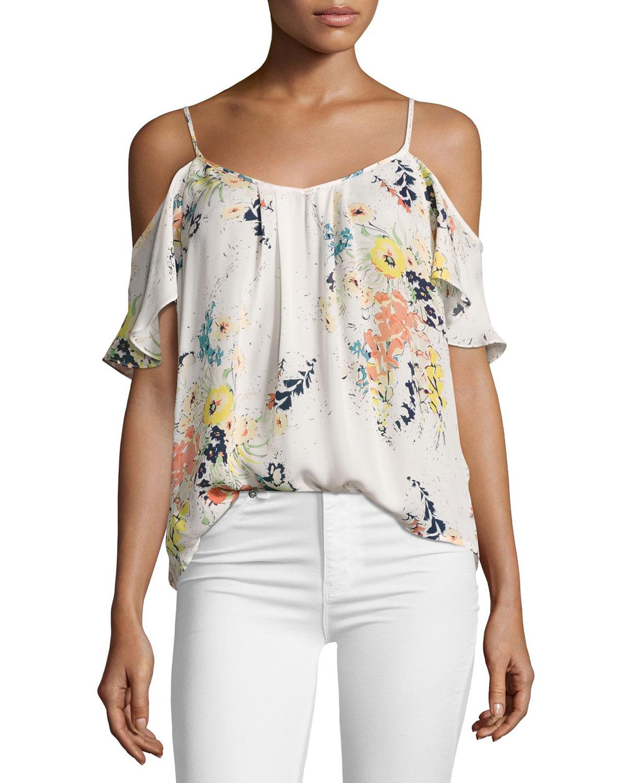 90cacc66857d7 Joie Adorlee Floral-Print Cold-Shoulder Silk Blouse