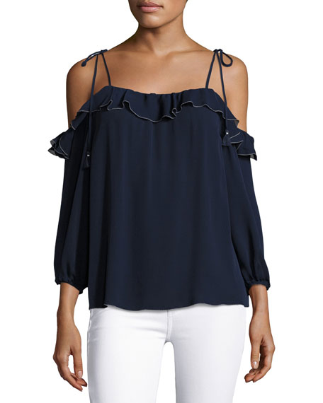 Joie Eukene Cold-Shoulder Silk Top, Blue